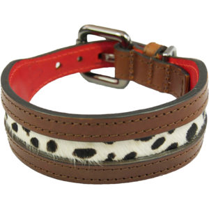 Alice Foxx Lee dog collar with light leopard print pony hair