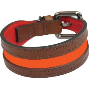 Alice Foxx Lee dog collar with orange neon insert