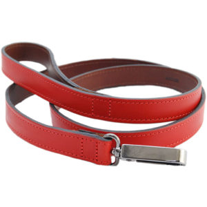 The Alice Foxx Alice dog lead in red and brown Italian Veg Tan leather