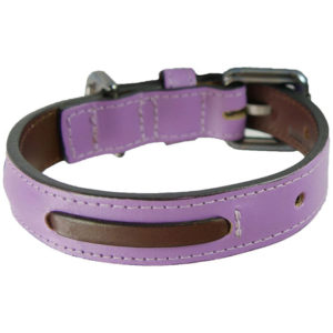 An Alice Foxx Bauhaus collar in purple, with brown running stitch