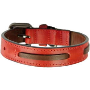 An Alice Foxx Bauhaus collar in red, with brown running stitch
