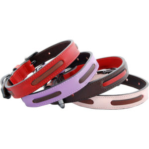 An Alice Foxx Bauhaus collars in brown/red -red/brown- purple/brown - pink/brown