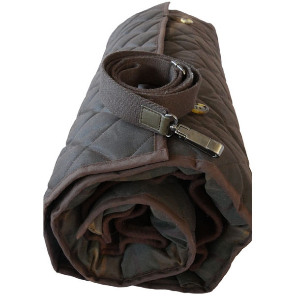 The Alice Foxx Glastonbury dog travel bed rolled, showing end view