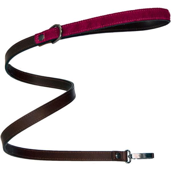 An Alice Foxx Lee dog lead with lipstick pink pony hair handle