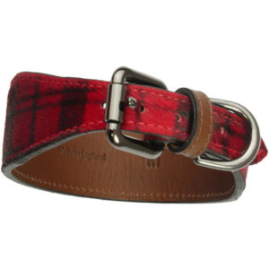 The Alice Foxx Mackintosh dog collar red tartan pony hair