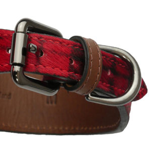 The Alice Foxx Mackintosh dog collar red tartan pony hair - buckle detail