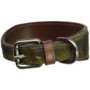 The Alice Foxx Mackintosh dog collar green tartan pony hair - buckle detail