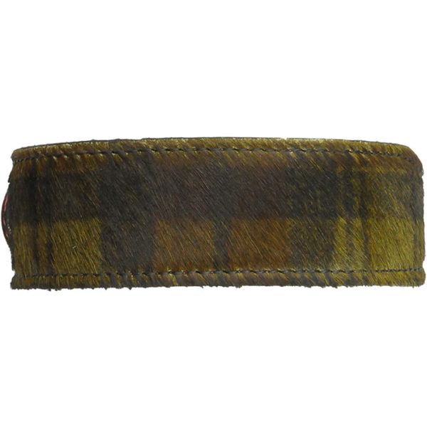 The Alice Foxx Mackintosh dog collar green tartan - pony hair detail