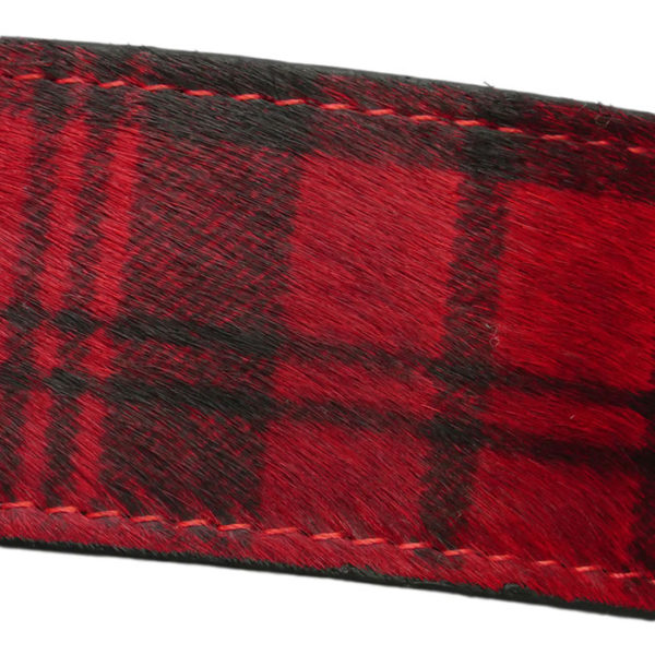 The Alice Foxx Mackintosh dog collar red tartan - pony hair detail