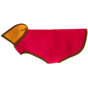 Profile view of the Alice Foxx reversible Neoprene Rainbow dog coat showing pink side