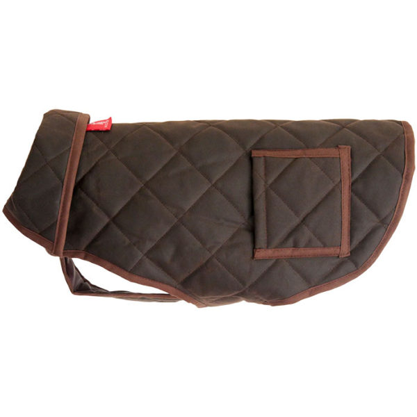 A brown Alice Foxx Chelsea waxed cotton dog coat