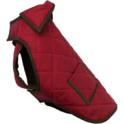 The Alice Foxx Chelsea dog coat in quilted waxed cotton - Port red