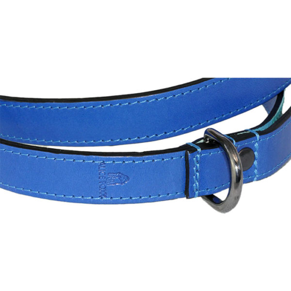 The Alice Foxx Matisse dog lead - close up showing stitching and logo