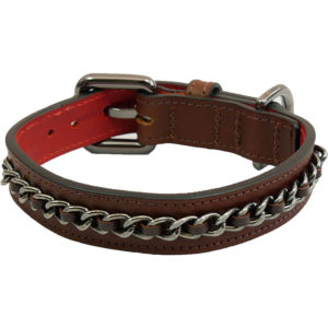 The Alice Foxx Nico dog collar with chain detail in brown