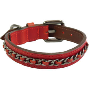 The Alice Foxx Nico dog collar with chain detail in red Italian leather