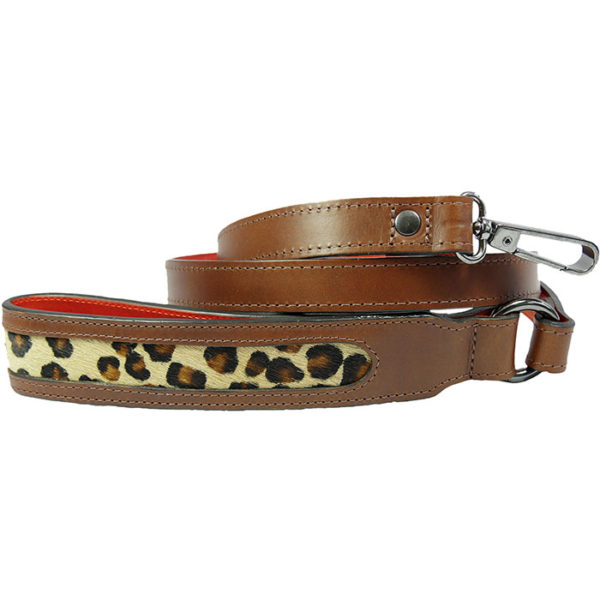 An Alice Foxx Sam dog lead with Leopard print pony hair handle