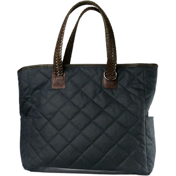 Alice Foxx Chelsea Bag in quilted black waxed cotton, with woven Italian Vegetable tanned leather handles.