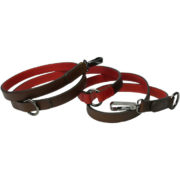 Alice Foxx Edward cross body dog lead in brown and red Vegetable tanned Italian leather