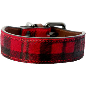 Alice Foxx Mackintosh dog collar in red tartan pony hair