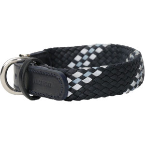 Alice Foxx Marinetti dog collar in woven reflective Vegetable tanned Italian Leather