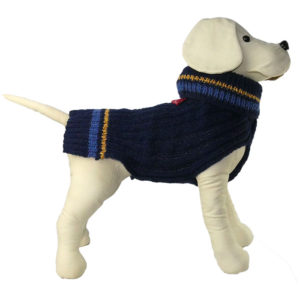 Alice Foxx Wimbledon dog sweater in navy, hand knitted in 100% Merino wool