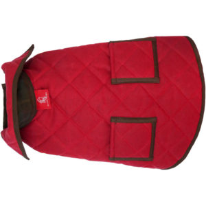 The Alice Foxx Chelsea quilted waxed cotton dog coat in Port red