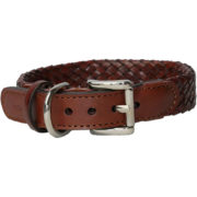 Alice Foxx Venezia dog collar in hand crafted woven fine Italian Vegetable tanned leather