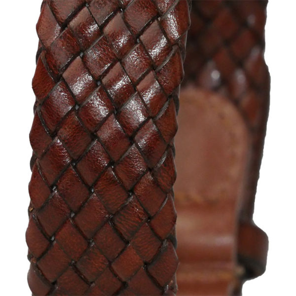 Alice Foxx Venezia dog collar in hand crafted woven fine Italian Vegetable tanned leather - close detail